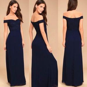 Lulu's Blue Off The Shoulder Part Lace Long Dress